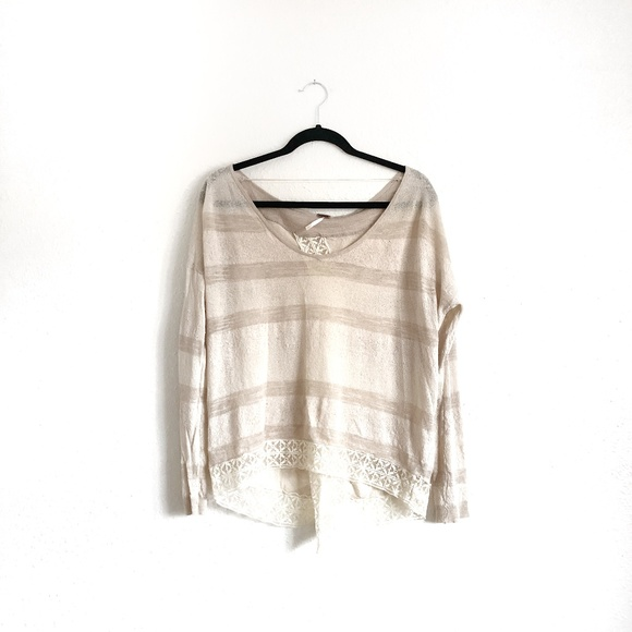 Free People Tops - 2/$25 FP Striped Lace Split Back Top Cream Sz S